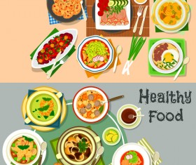 Healthy with delicious food vector template 05