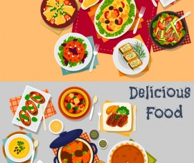 Healthy with delicious food vector template 06