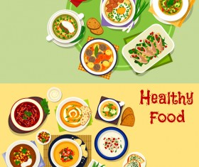 Healthy with delicious food vector template 08