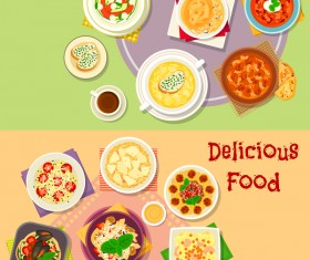 Healthy with delicious food vector template 09