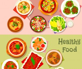 Healthy with delicious food vector template 10