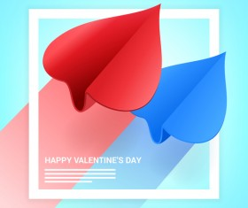 Heart aircraft with valentine day card vectors 01