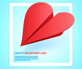 Heart aircraft with valentine day card vectors 02