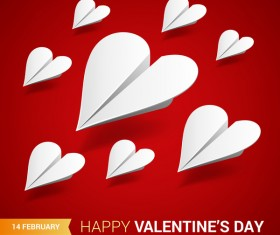 Heart aircraft with valentine day card vectors 03