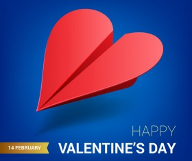 Heart aircraft with valentine day card vectors 05