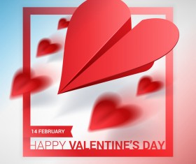 Heart aircraft with valentine day card vectors 06