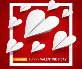 Heart aircraft with valentine day card vectors 07