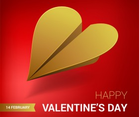 Heart aircraft with valentine day card vectors 08