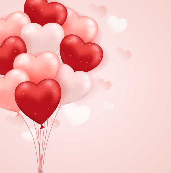 Heart shape balloon with pink background vector