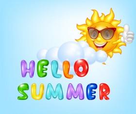 Hello summer cartoon vector material 01