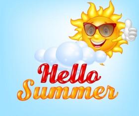 Hello summer cartoon vector material 02