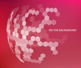 Hexagonal with spherical and red background 02