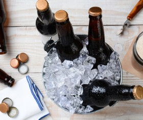 Ice cubes and beer Stock Photo 06