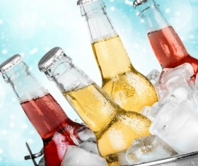 Ice cubes and beer in buckets Stock Photo 03