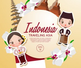 Indonesia travel cartoon template vector