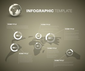 Infographic world map pie charts brown vector 02