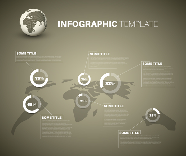 Infographic world map pie charts brown vector 02 vector business infographic world map pie charts brown vector 02 gumiabroncs Gallery
