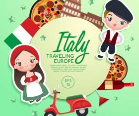 Italy travel cartoon template vector