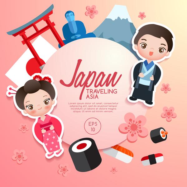 japan travel cartoon template vector free download