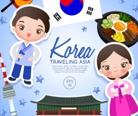 Korea travel cartoon template vector