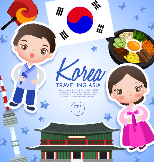korea travel cartoon template vector free download korean flag vector free download Korean Flag Logo