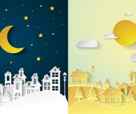 Landscape city village with nightime and daytime urban cartoon vector