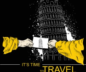 Leaning Tower of Pisa with travel template vector 01