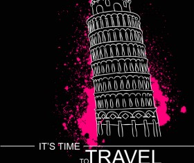 Leaning Tower of Pisa with travel template vector 02