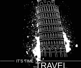 Leaning Tower of Pisa with travel template vector 03
