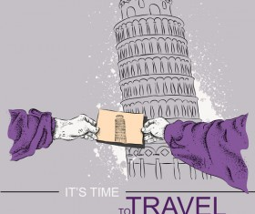 Leaning Tower of Pisa with travel template vector 04