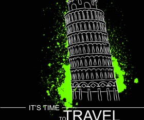 Leaning Tower of Pisa with travel template vector 05