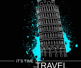 Leaning Tower of Pisa with travel template vector 06