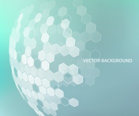 Light color background with hexagonal spherical vector 02