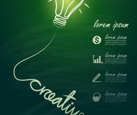 Lightbulb with ideas infographics vector template 05