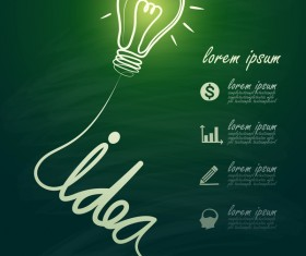 Lightbulb with ideas infographics vector template 09