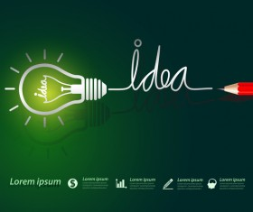 Lightbulb with ideas infographics vector template 10