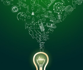 Lightbulb with ideas infographics vector template 14