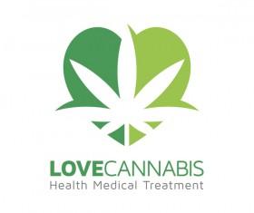 Love cannabis logo design vector 01