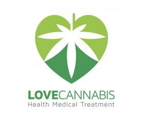 Love cannabis logo design vector 02