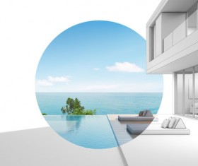 Luxury beach house with sea view pool in modern design Stock Photo 02