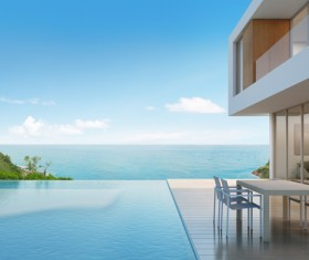Luxury beach house with sea view pool in modern design Stock Photo 03
