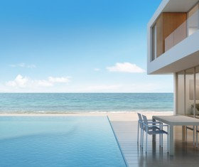 Luxury beach house with sea view pool in modern design Stock Photo 04