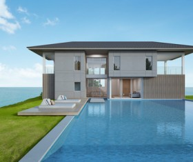 Luxury beach house with sea view pool in modern design Stock Photo 05