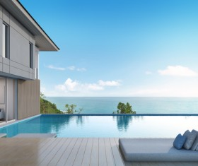 Luxury beach house with sea view pool in modern design Stock Photo 06