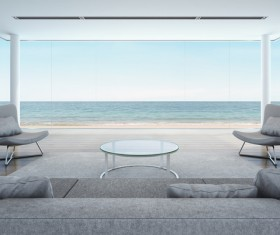 Luxury beach house with sea view pool in modern design Stock Photo 08
