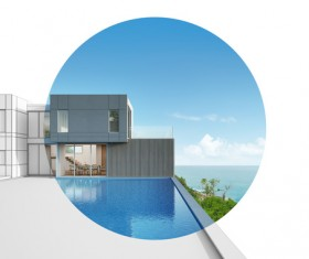 Luxury beach house with sea view pool in modern design Stock Photo 10