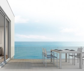 Luxury beach house with sea view pool in modern design Stock Photo 11
