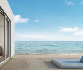 Luxury beach house with sea view pool in modern design Stock Photo 13