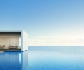 Luxury beach house with sea view pool in modern design Stock Photo 17