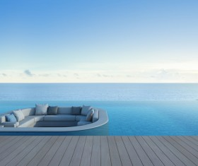 Luxury beach house with sea view pool in modern design Stock Photo 19